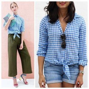 j. crew // gingham tie waist top button down shirt